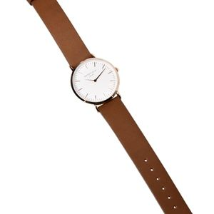 Rosefield, rose gold, brown leather strap